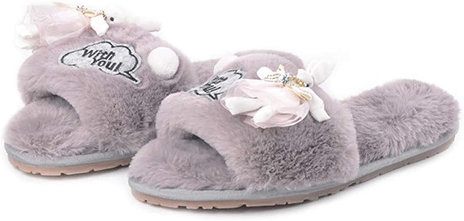 Zarbrina Warm House Comfort Slippers for Womens Bedroom Open Toe Fuzzy Fur Lining Plush Cute Slide shoes