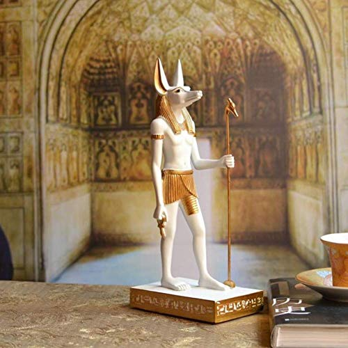 qingtianlove Sculpture Statue Egipto Statue Anubis Style & SculptureEgypt God Ornaments Handicraft Resin Decoration Accessories (Color, White, Size, 6.5X4X17CM), White, 6.5X4X17CM