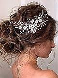 Vakkery - Diadema para novia, diseño de flores, color plateado