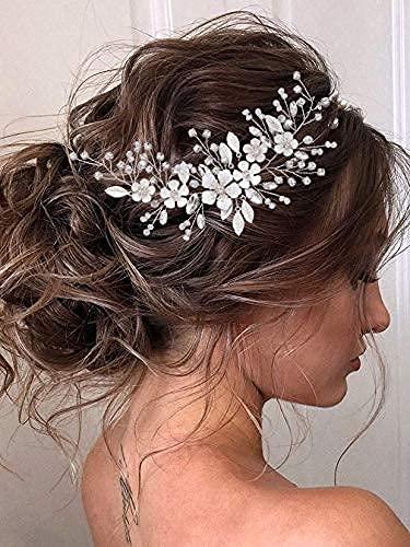 Vakkery - Copricapo per capelli da sposa, con cristalli argentati, accessorio per capelli da sposa per donne e ragazze