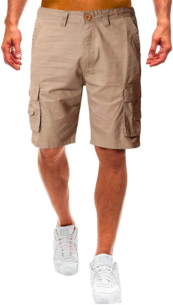 Cargo Shorts Forthery Men's Casual Pure Color Relaxed Fit Multi-Pocket Beach Work Trouser Cargo Shorts Pant(Khaki,36)