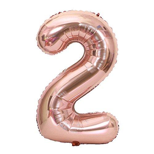 Rosegold Folienballon Number Zahlen Luftballon Zahlen Ballons Folienluftballon Zahlen Ballon Party Kindergeburtstag Happy Birthday Dekoration(Nummer 2)