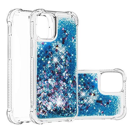 HSRWGD Funda para iPhone 12 6.1' Heavy Duty Girly Protective Glitter Liquid Bling Quicksand Hybrid Resistente a los golpes Parachoques Duro Suave Transparente Cubierta Protectora de Goma (Azul)