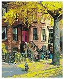 Pintura al óleo de bricolaje por números Imagen de la casa para la sala de estar Decoración del hogar Colorear por números Paisaje pintado a mano Regalo 40x50cm sin marco
