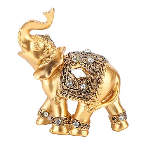 Gold Elephant Resin Statue  Facing Upwards Elephant Figurine with Trunk Up Collectible Sculpture Decoration for Lucky Feng Shui Wealth Home Decor Good Luck  3.54inch