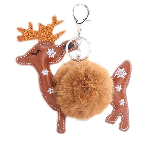 Yinew Christmas Reindeer Fur Ball Key Keyring Gift Keychain Key Ring, khaki, Sizer