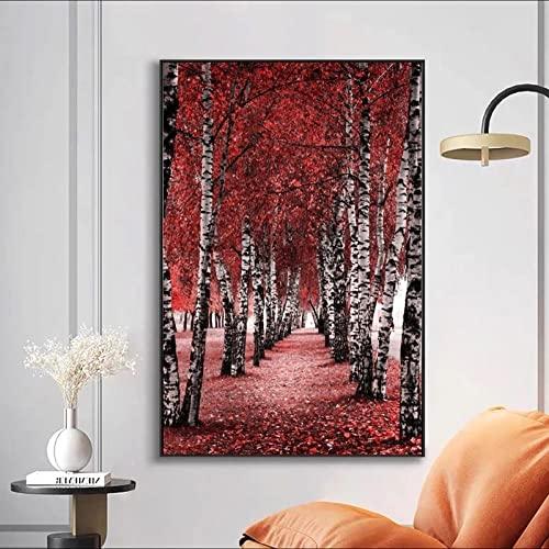 Pinturas de paisaje de árbol rojo abstracto moderno para decoración de sala de estar póster e impresión de imágenes decorativas sin marco-30x40cm