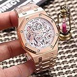 PLKNVT Luxury Automatic Meccanico Self Wind Men Watch Sapphire Vetro Trasparente Hollow Rose Gold...