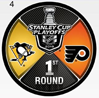 The Hockey Company 2018 Stanley Cup Playoffs 1st Round Puck Dueling Teams Penguins VS. Flyers Round 1 Pittsburgh Philadelphia
