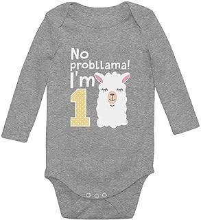 Tstars Gift for 1 Year Old No Probllama Funny 1st Birthday Baby Long Sleeve Bodysuit