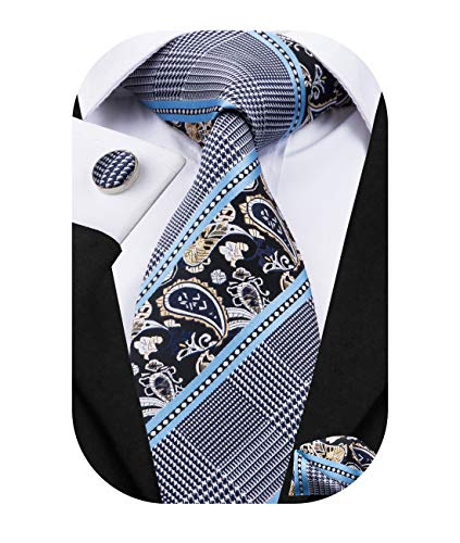 Dubulle Mens Necktie and Pocket Square Set Blue and Grey Paisely Wedding Ties
