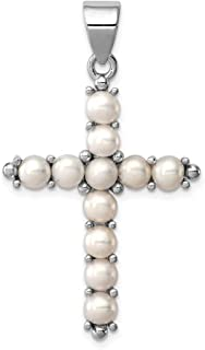 925 Sterling Silver Freshwater Cultured Pearl Cross Religious Pendant Charm Necklace Latin Fine Jewelry Gifts For Women For Her