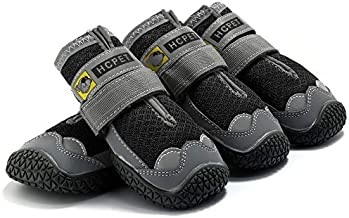 Breathable Mesh Paw Protector Dog Booties for Large Dog with Anti-Slip Sole Adjustable Reflective Straps Waterproof Winter Dog Shoes for Medium Large Dogs Hiking Running (7(2.6inchwidth), Black)