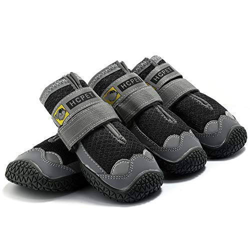 Breathable Mesh Paw Protector Dog Booties for Large Dog with Anti-Slip Sole Adjustable Reflective...