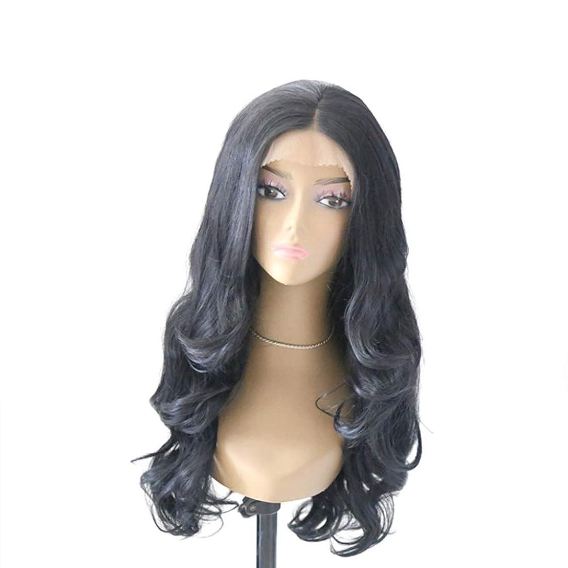 釈義パーティションフィッティングSummerys 黒かつら女性のための大きな波状の巻き毛のフロントレース化学繊維かつら