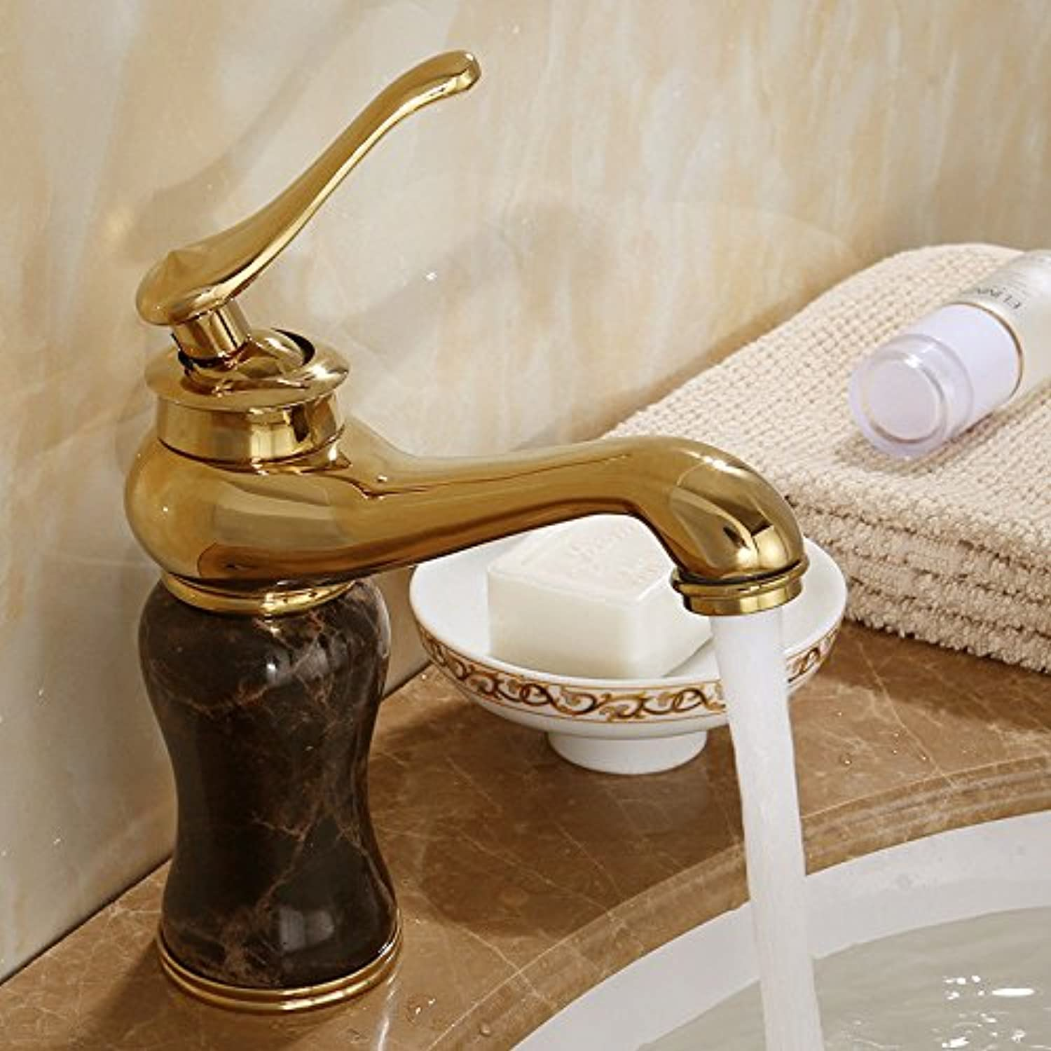 Hlluya Professional Sink Mixer Tap Kitchen Faucet All copper antique faucet sink hot and cold pink gold golden Jade Bathroom Cabinet faucet,P