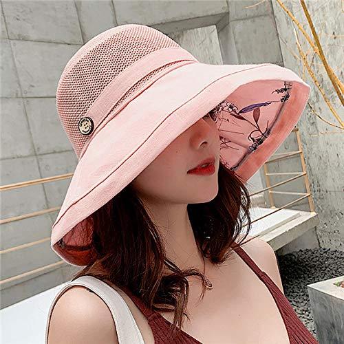QND,Sombrero,Sombrero de Playa Anti-UV Plegable de Verano para Mujer, Malla de Red de Color sólido, Sombrero para el Sol de ala Ancha Grande, Gorra de protección Solar de Tela para Mujer,