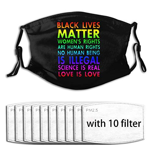 Fkkwc_IEUHB Unisex Protection Black Lives Matter No Human is Illegal Love is Love Anti-Dust Face Mouth Windproof Adjustable Washable Dust Face Shield Reusable