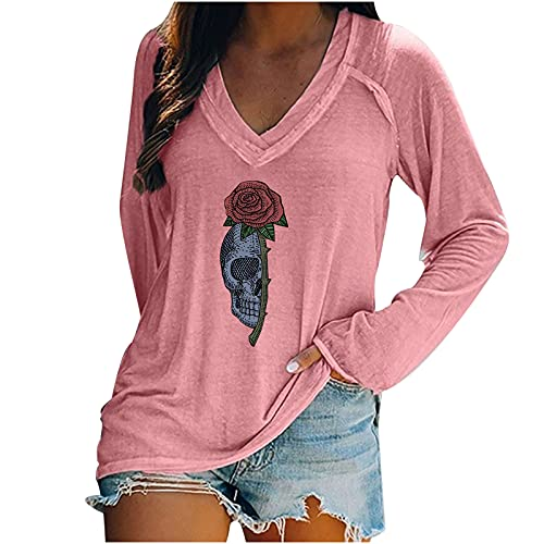 Long Sleeve Shirts For Women,Casual Halloween Graphic V Neck Tunic Tops Trendy Loose Pullover Sweatshirt Blouse Tops