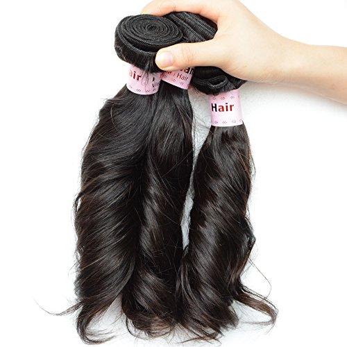 NOBLE QUEEN Hair Aunty Funmi Lot de 3 extensions de cheveux péruviens vierges 10 A Noir naturel (7,6 x 50,8 cm)
