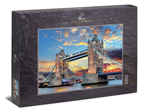 Ulmer Puzzleschmiede - Puzzle Puente de la Torre - Puzzle de 1000 Piezas - El Puente de la Torre de Londres con luz Dorada al Atardecer