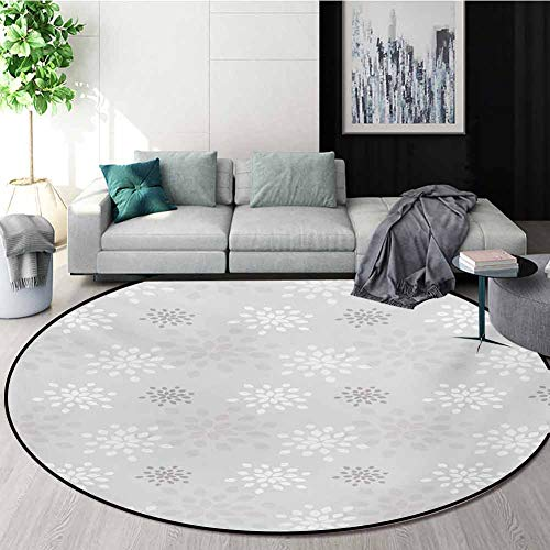 Best Buy! Grey and White Modern Flannel Microfiber Non-Slip Machine Round Area Rug,Shabby Chic Simpl...