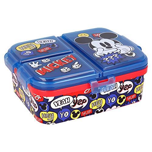 Stor Mickey Mouse | Sandwichera con 4 Compartimentos - Tupper Infantil - Fiambrera Decorada para Niños
