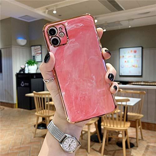 VHR Fundas para iPhone 12 Pro MAX Funda De Lujo De Mármol Galvanizado Fundas De Teléfono para iPhone 7 8 Plus XR X XS 11 Pro MAX Funda De Silicona para iPhone 11 Pro Pink
