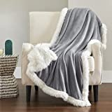 Bedsure Sherpa Fleece Blanket Reversible - Winter Warm Plush Thermal Blanket, Thick Cozy Soft Twin Blanket Herringbone, Fluffy Sherpa Blankets for Bed and Couch, Grey Twin Size Blanket (60x80 Inches)