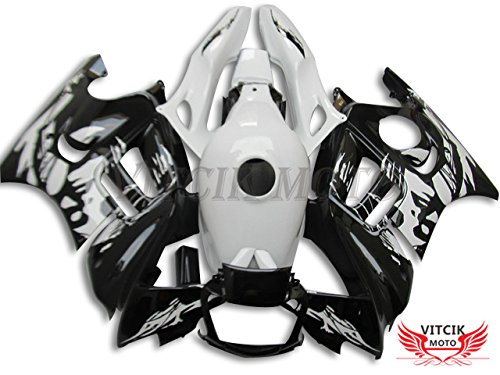 VITCIK (Fairing Kits Fit for Honda CBR600F3 CBR600F 1997 1998 CBR 600 F3 97 98) Plastic ABS Injection Mold Complete Motorcycle Body Aftermarket Bodywork Frame (White & Black) A032