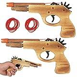 2 Pc Wooden Pistol Toy Rubber Band Gun Shooter Kids Cowboy Classic Antique Gift