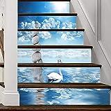 A.Monamour Pegatinas de Escalera Autoadhesivos 3D Cisne Nadando En El Lago Montón De Piedra Zen Vinilo Impermeable Pegatinas de Pared Adhesivos Etiquetas Pegatinas de Baldosas DIY 6PCs