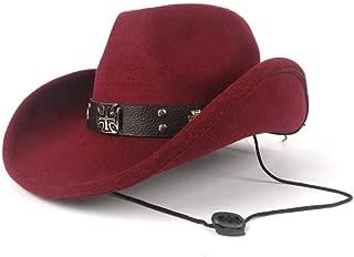 TX GIRL Western Cowboy Hat Women's Men's Rivets Punk Wind Wool Winter Western Cowboy Hat Gentleman Jazz Sombrero Elegant Lady Cowgirl Hat Novelty Party Costumes (Color : Deep red, Size : 56-59cm)