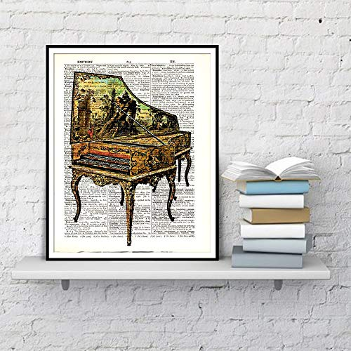 Old Piano Dictionary familie kunst canvas decoratie schilderij poster en afdrukken woonkamer wandschilderij canvas kunst frameloos schilderij