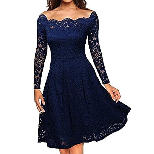 Xmiral Women Dress Off Shoulder Lace Formal Evening Party Dress Long Sleeve  Knee-Length Vintage 087d6840e