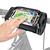 MORDEN MS Bike Handlebar Bag, Waterproof Phone Cycling Mount Front Bag, Mountain Bicycle Storage Bag with 6 inch Transparent Pouch Touch Screen Removable Shoulder Strap, Biker Gifts for Men Women