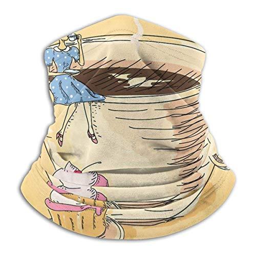 PQU Awesome 12-In 1 Headwears,Retro Gekleidete Dame, Die Auf Einer Gigantischen Kaffeetasse Sitzt Und Kaffee-Gesichtsschutz Nippt, Anti-Tröpfchen-Schweißband Für Motorrad-Skifahren,26x30cm