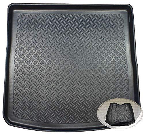 ZentimeX Z3343821 Geriffelte Kofferraumwanne fahrzeugspezifisch + Klett-Organizer (Laderaumwanne, Kofferraummatte)