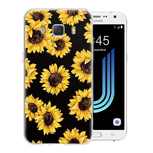 Pnakqil Funda Samsung Galaxy J7 2016, Silicona Transparente con Dibujos Diseño Slim TPU Antigolpes Ultrafina de Protector Piel Case Cover Cárcasa Fundas para Movil Samsung GalaxyJ7, Girasol Negra