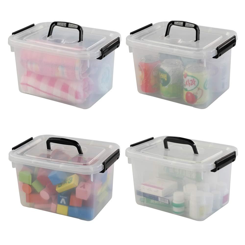 Joycky 4 Unidades Cajas de Almacenamiento de plástico, 5 L Plástico Caja Transparente con Tapa, Plástico Contenedor con Asa: Amazon.es: Hogar