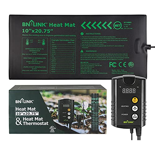 """BN-LINK Durable Seedling Heat Mat Heating Pad 10"""" x 20.75"""" with Digital Thermostat Combo Set"""""""