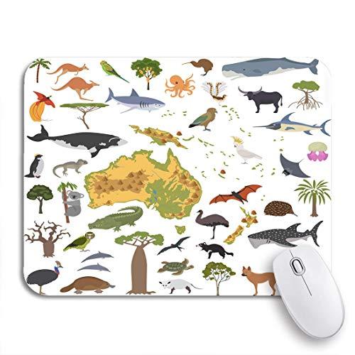 Gaming Mouse Pad Australien und Ozeanien Flora Fauna Karte Flache Tiere Vögel Rutschfeste Gummi Backing Computer Mousepad für Notebooks Maus Matten