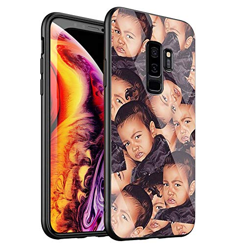 Phone Case for Samsung Galaxy S7 Edge,Tempered Glass Back Cover for Scratch and Fall Resistance DT-53 Kimoji Kim Kardashian North Kylie Jenner