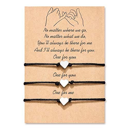 MANVEN Mom Daughters Matching Friendship Bracelet Pinky Promise Distance Bracelet for 3 Best Friends Family Women Men Girls