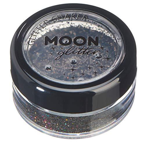 Holographische Glitzer Shaker von Moon Glitter - 100% kosmetischer Glitzer für Gesicht, Körper, Nägel, Haare und Lippen - 5gr - Schwarz