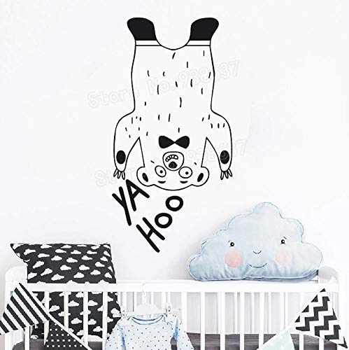 hetingyue Grappige beer sticker muur kunst muur sticker babykamer zelfklevende muursticker home decal decoratie
