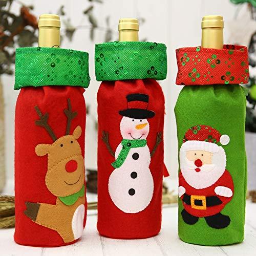 CYPYGDD De Nieuwe Kerst Fles Tassen Pailletten Borduurwerk Oude Snowman Herten Wijntas Wijn Set Tafel Decoraties Hotels