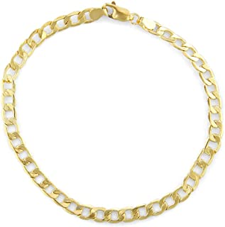 Genuine Solid 14kt Yellow Gold and White Gold Italian Inspired 5.3mm Cuban Curb Chain Link Bracelet for Men with Lobster Claw Clasp and Authentic Metal Stamping