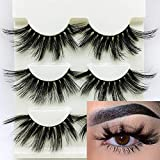 3D Mink False Eyelashes 25mm Dramatic Fake Eye Lashes Criss-cross Wispy Fluffy Handmade Eye Makeup Tools 3Pairs (Style 1)