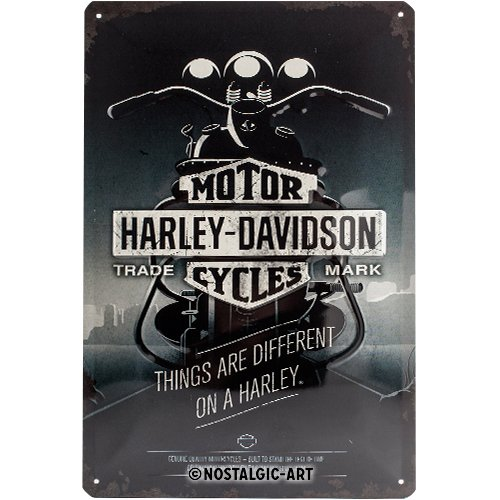 Nostalgic-Art Harley Davidson Things Are Different Placa Decorativa, Metal, Gris, 20 x 30 cm